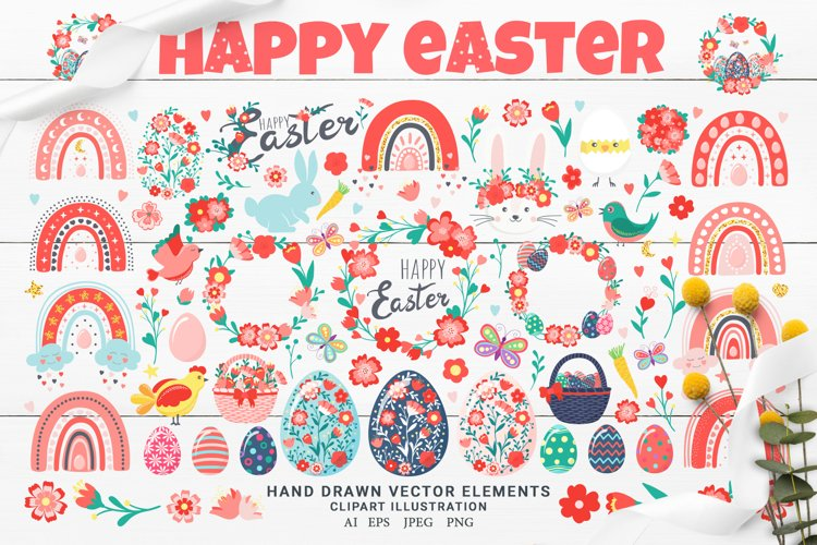 Happy Easter Clipart Illustration. Easter Set Collection
