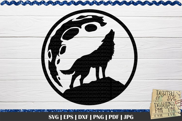 Wolf and Full Moon SVG | Wolf silhouette svg | Wildlife svg example image 1