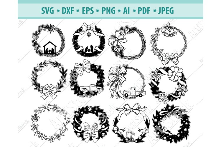 Christmas Wreath svg, Christmas Png, Bows wreath Eps, Dxf example image 1