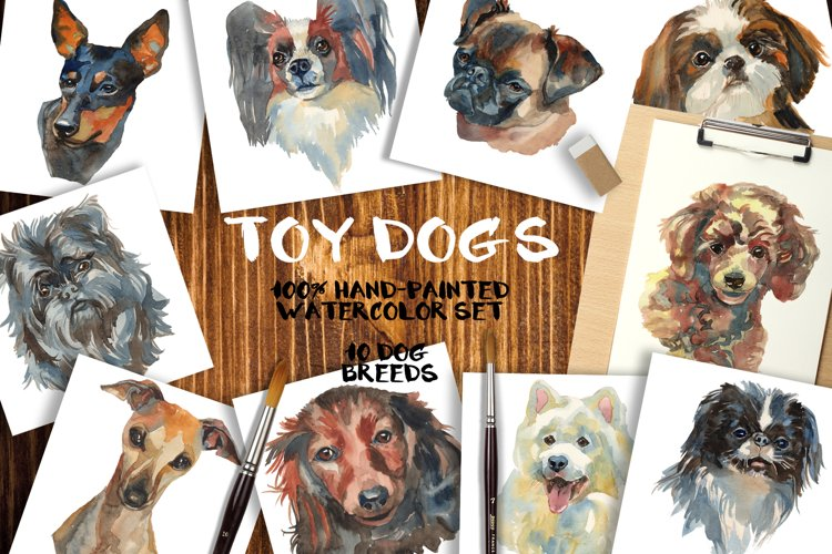 """Toy dogs"" watercolor set example image 1"