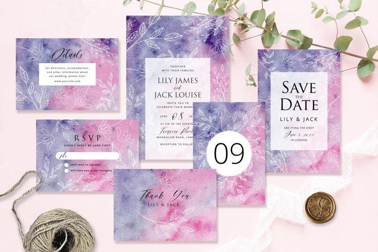 Hand Drawn Floral Wedding Invitation Set example image 1