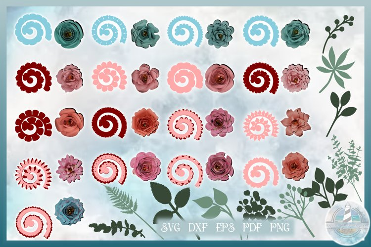 Rolled Flower SVG Bundle | 17 Rolled Paper Flower Templates