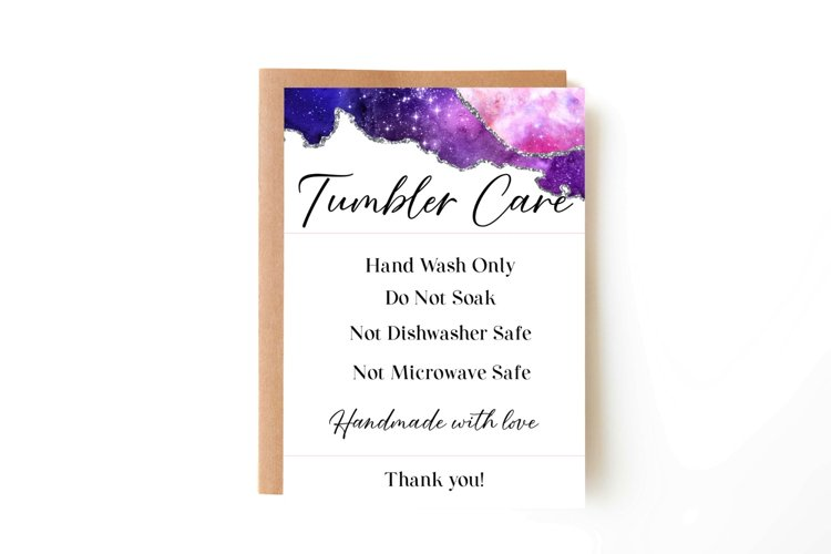 Galaxy Tumbler Care Card, Print and Cut Care Card