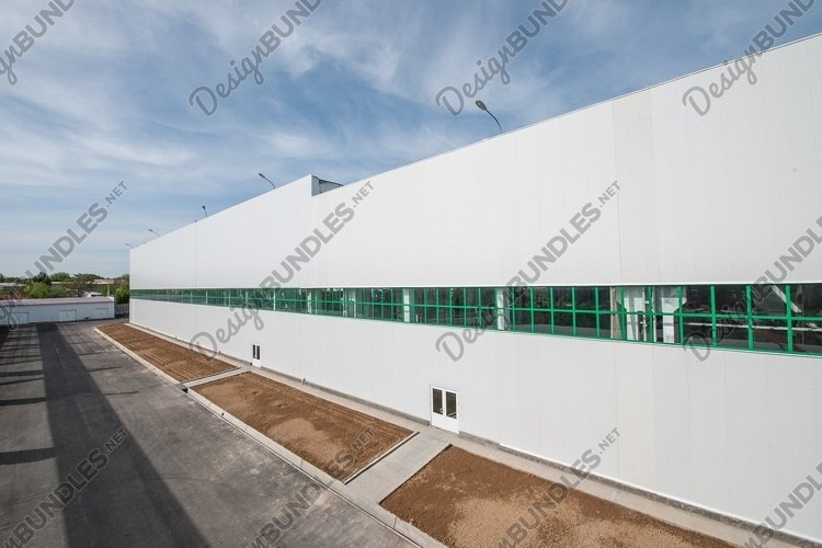 Facade of an industrial building and warehouse in length example image 1