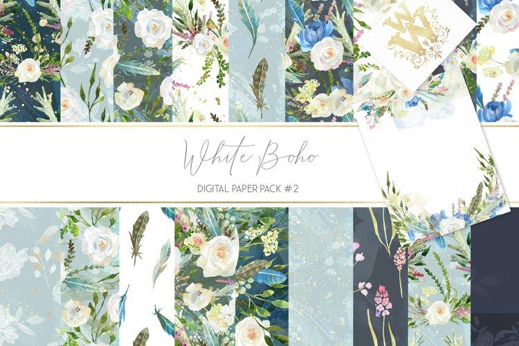Boho chic digital paper pack, watercolor floral seamless