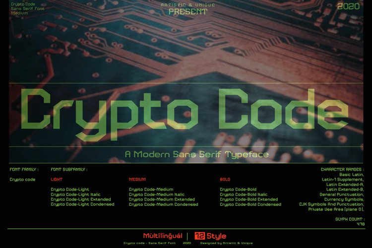 Crypto code - Sans serif font family example image 1