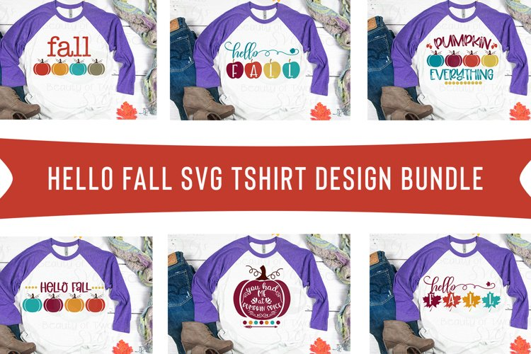Hello Fall svg shirt design bundle, 6 Fall shirt svg designs example image 1