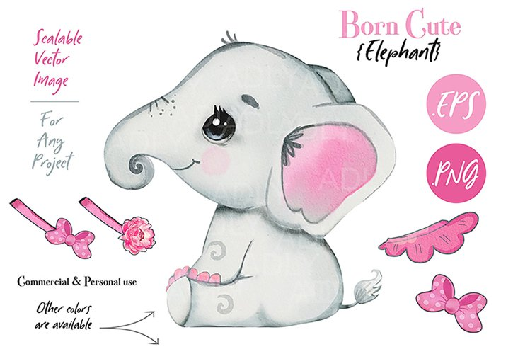 Baby elephant clip art, PNG, Watercolor animal, bow, skirt example image 1