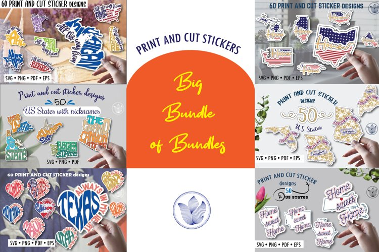 Big bundle of bundles, Print and cut svg stickers, US states