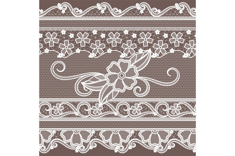 Fabric lace with flowers decoration. Fashion seamless backgr example image 1