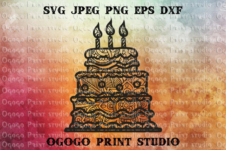 Cake Svg, Zentangle svg, Birthday svg, Mandala svg, Cricut example image 1