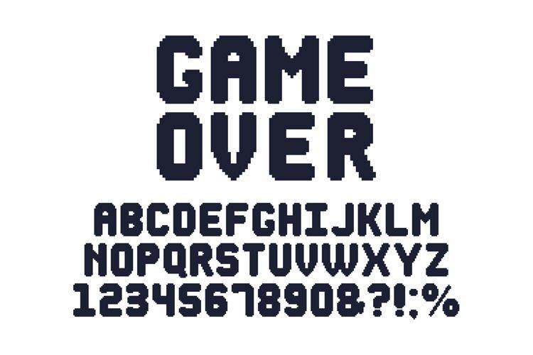 Computer 8 bit game font. Retro video games pixel alphabet, example image 1