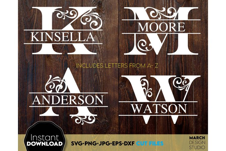 Monogram SVG, Letter Monogram SVG, A-Z Monogram SVG, Frames example image 1