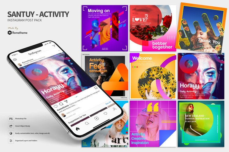 Santuy - Activity Instagram Post Pack HR example image 1