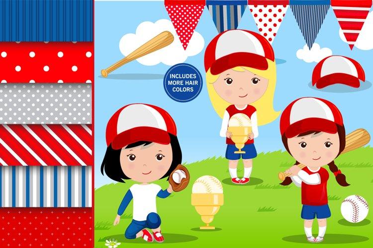 Baseball girl illustrations, Baseball girl graphics example image 1