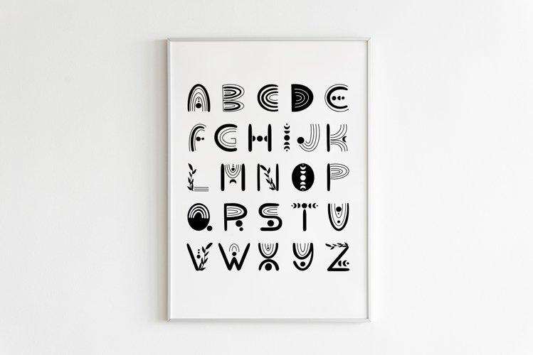 Abstract Boho Rainbow Decor, Black and White Alphabet Poster example image 1