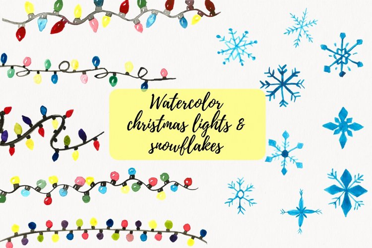 Christmas Lights Clipart, Watercolor String Lights Clipart