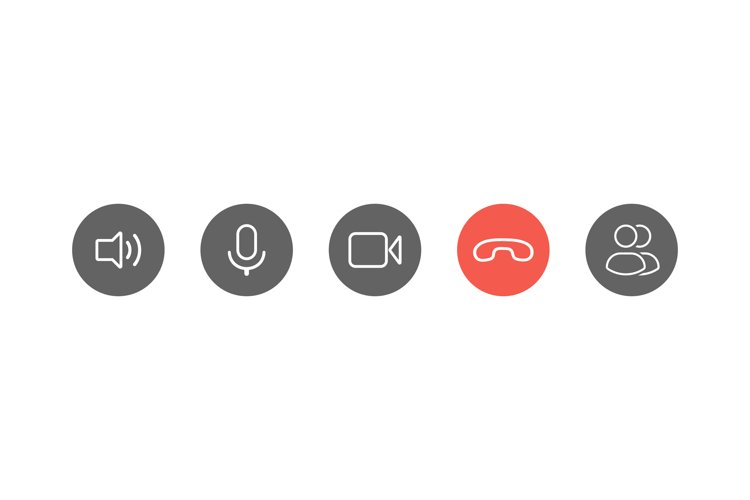 Video call icons set example image 1