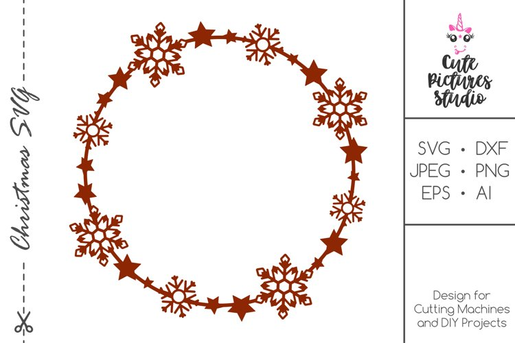Christmas circle monogram frame with stars, snowflakes SVG example image 1