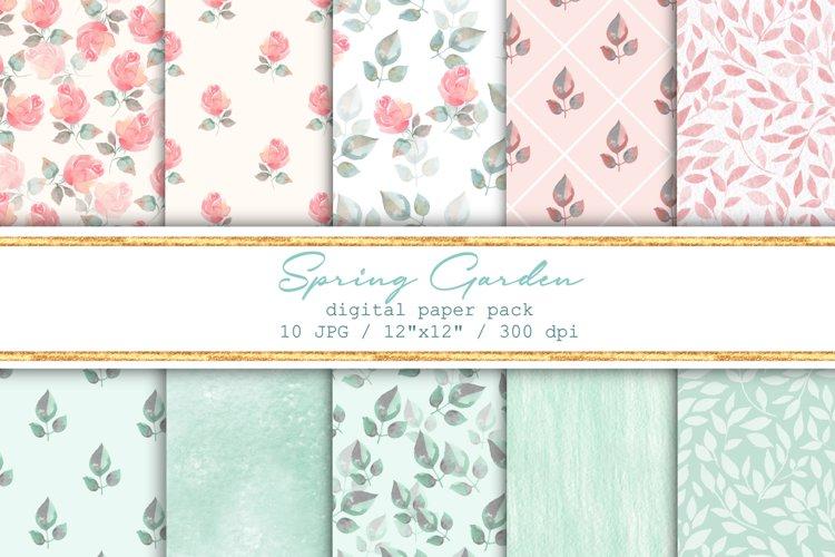 Spring garden. Seamless patterns set example image 1
