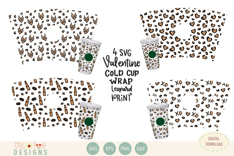 Valentine animal print, cold cup wrap pattern, SVG