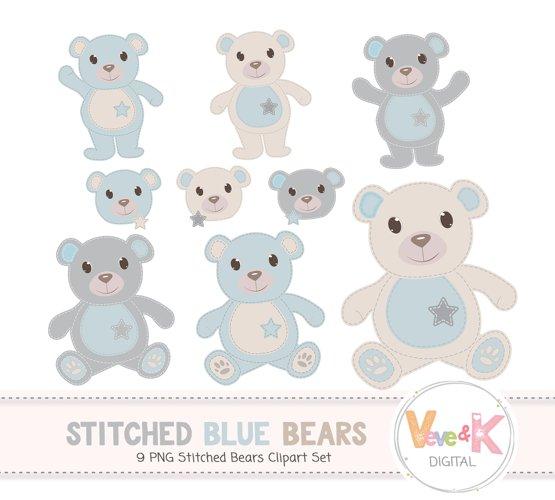 Teddy Bear Clip Art, Stitched Bear Clipart, Digital Clip Art, Blue Teddy Bears, Baby Boy DIY Shower, Baby Pink and Beige