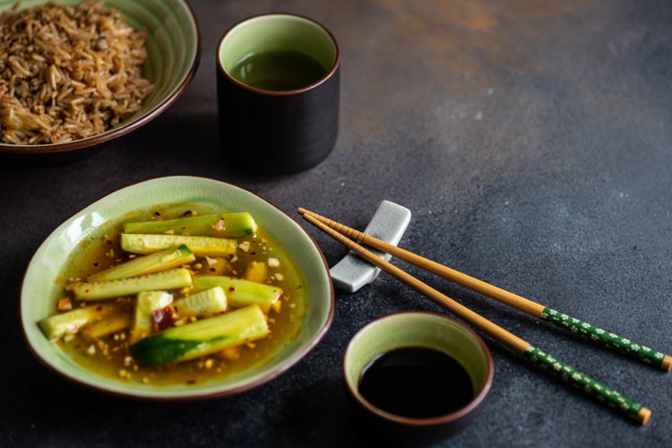 Traditional asian, chinese rice served with chopsticks example image 1