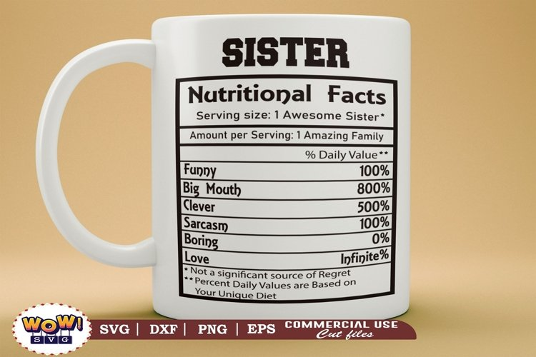 Sister nutrition facts svg, nutrition facts svg
