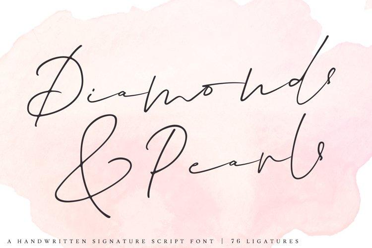 Diamonds & Pearls   A Handwritten Signature Script Font example image 1