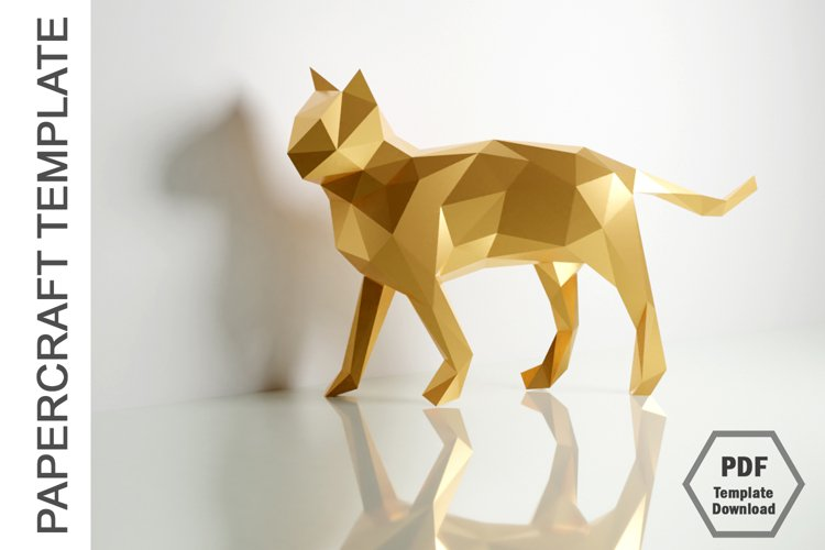 PDF TEMPLATE OF CAT PAPERCRAFT / 3D PAPERCRAFT LOWPOLY example image 1