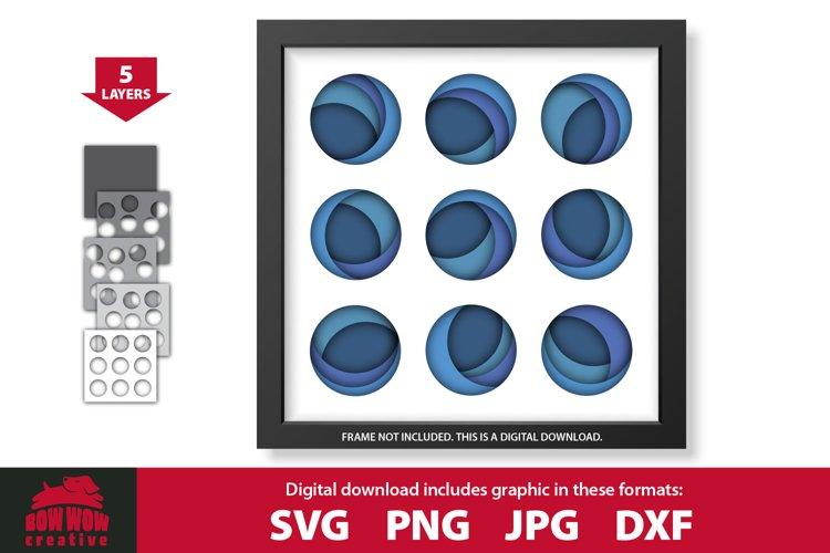 3D Layered Modern Art Circles Shadow Box SVG Cutting File