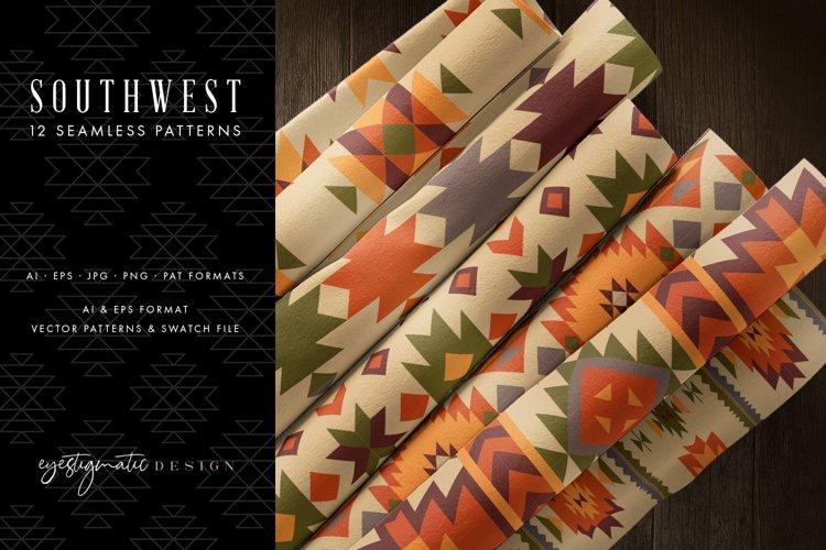 12 Seamless Southwest Patterns - Orange, Brown & Green