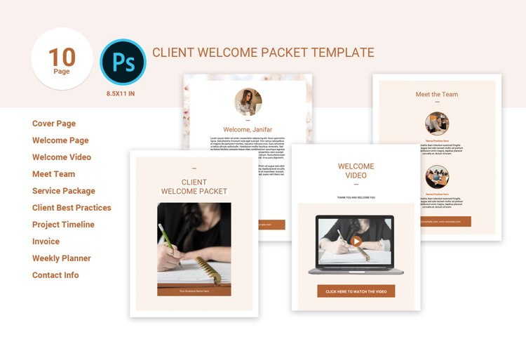 Client Welcome Packet Template, Photoshop Template example image 1