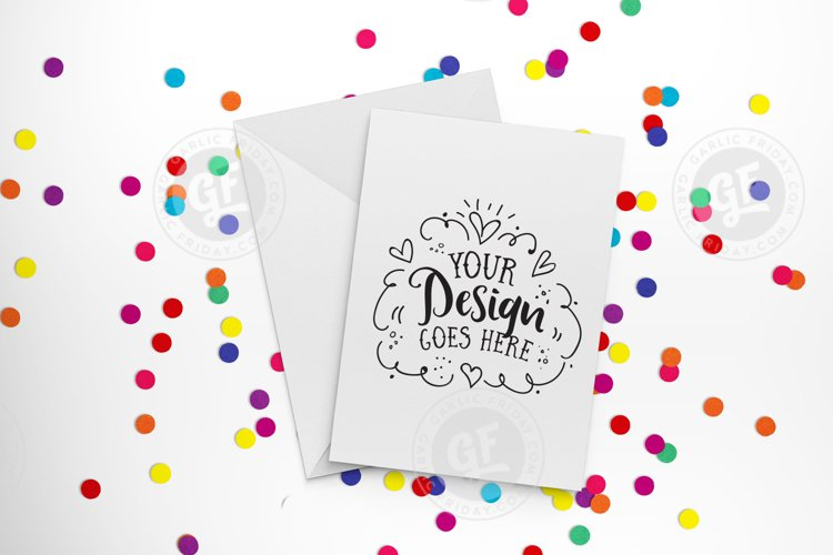 Rainbow confetti greeting card mockup with smart objects (portrait) 00030-03