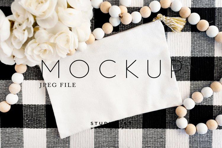 Makeup Bag Mockup, Blank White Bag, JPEG example image 1