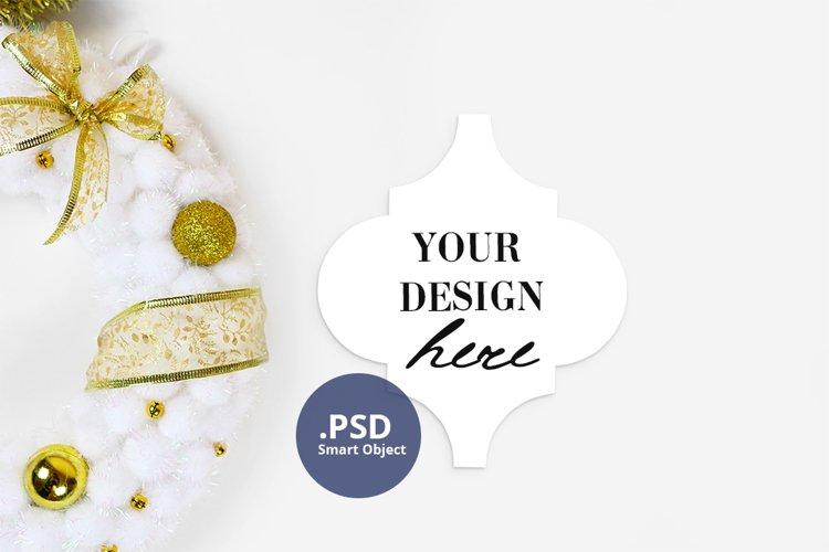 Christmas Ornament Mockup, Arabesque tile mockup, PSD mockup