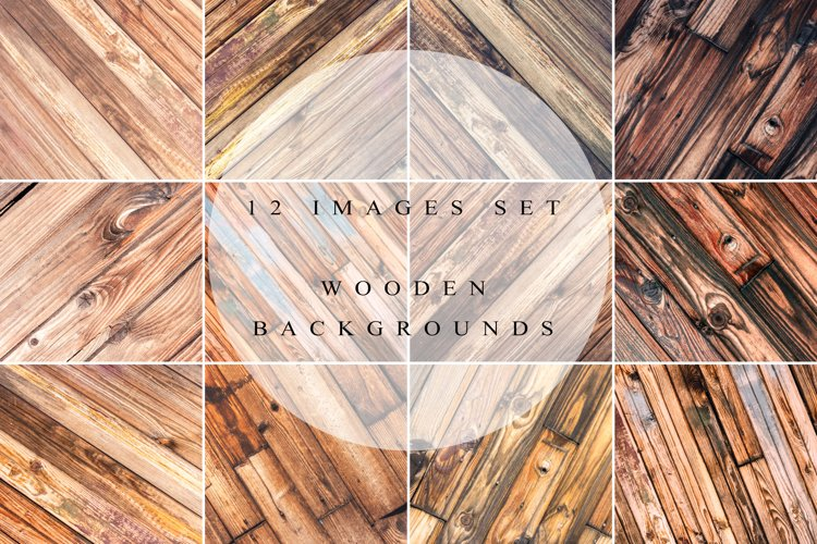Rustic wooden backgrounds set example image 1