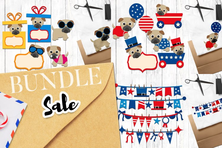 Summer and Fourth of July Pug Dog Graphics Bundle