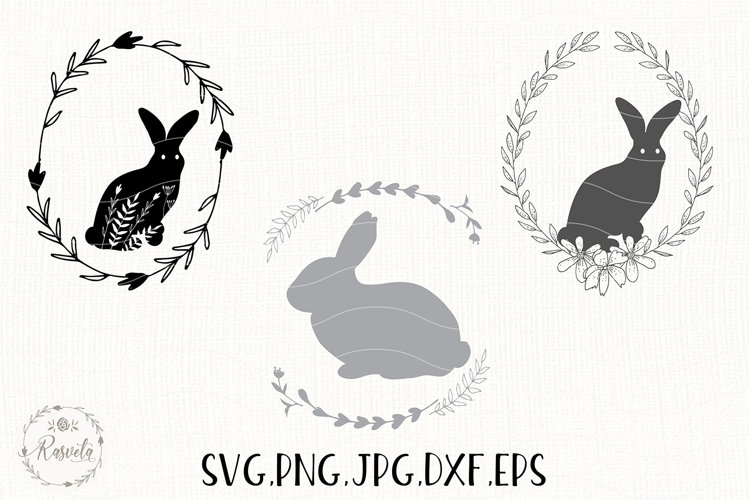 Easter Bunny Bundle Line and Silhouette/ 6 example image 1