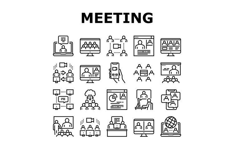 Online Video Meeting Collection Icons Set Vector example image 1