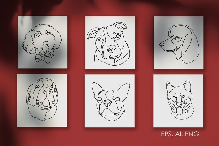 16 Dogs line drawings. Dog breeds example image 1