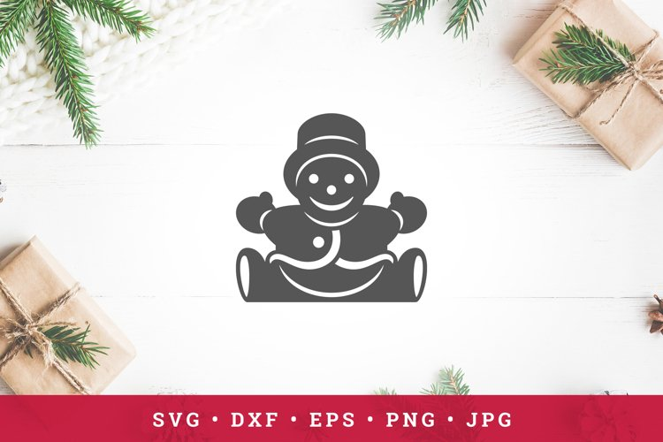 Sitting snowman with hat icon silhouette isolated on white example image 1