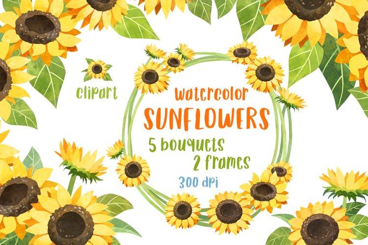 Sunflower clipart Rustic wedding invitation Flower bundle