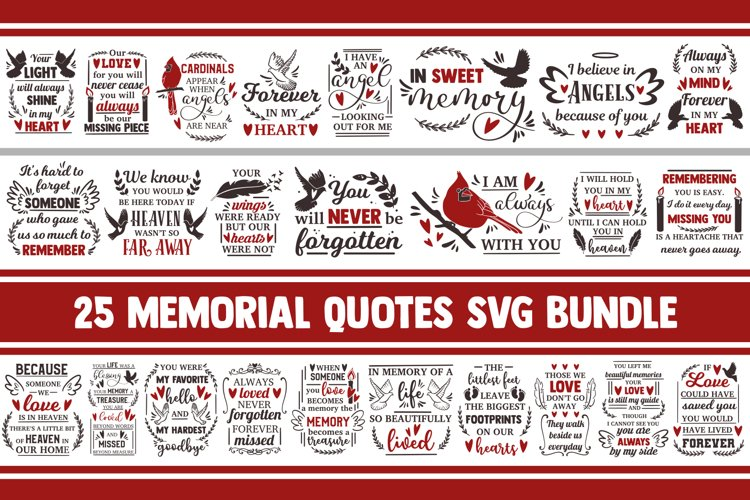 Memorial SVG bundle, christian svg, cardinal svg, svg quotes