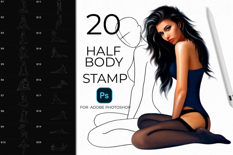 20 Fashion Body Pose Stamps for Adobe Photoshop