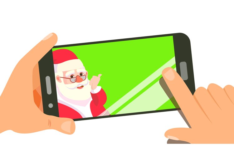 Smart Phone With Cute Santa Vector. Merry Christmas And