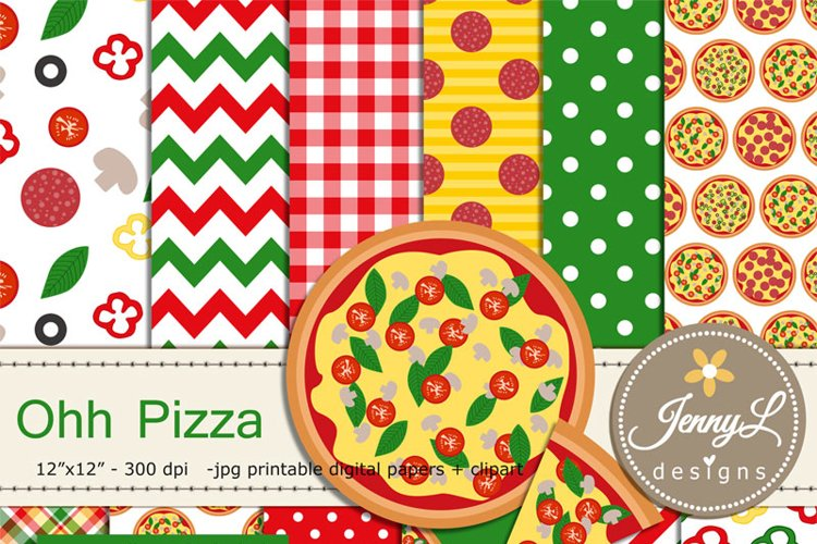 Pizza digital papers and clipart SET, Italian Pepperoni, mushroom, basil, olives Food Clipart example image 1