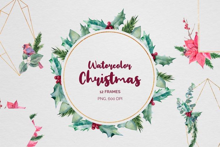Christmas watercolor geometric frames example image 1