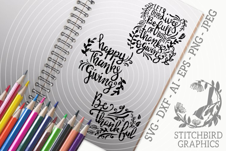 Thanksgiving Quotes 1 Bundle SVG, Silhouette Studio, Cricut example image 1