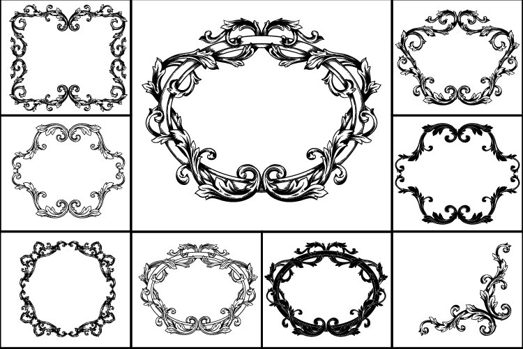 Frame or Border with baroque style. Vintage rococo ornament